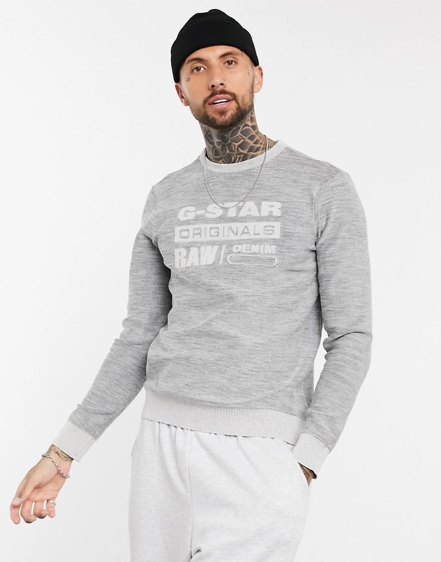 G-Star | Джемпер с логотипом G-Star Premium Соrе-Серый | Clouty
