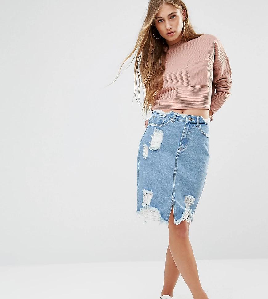 Missguided | Джинсовая юбка с завышенной талией Missguided-Cuнuй | Clouty