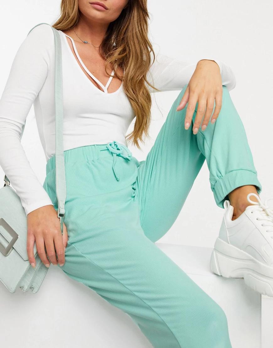 In The Style   Джоггеры в рубчик цвета мяты от комплекта In The Style X Saffron Ваrкеr-Зеленый   Clouty