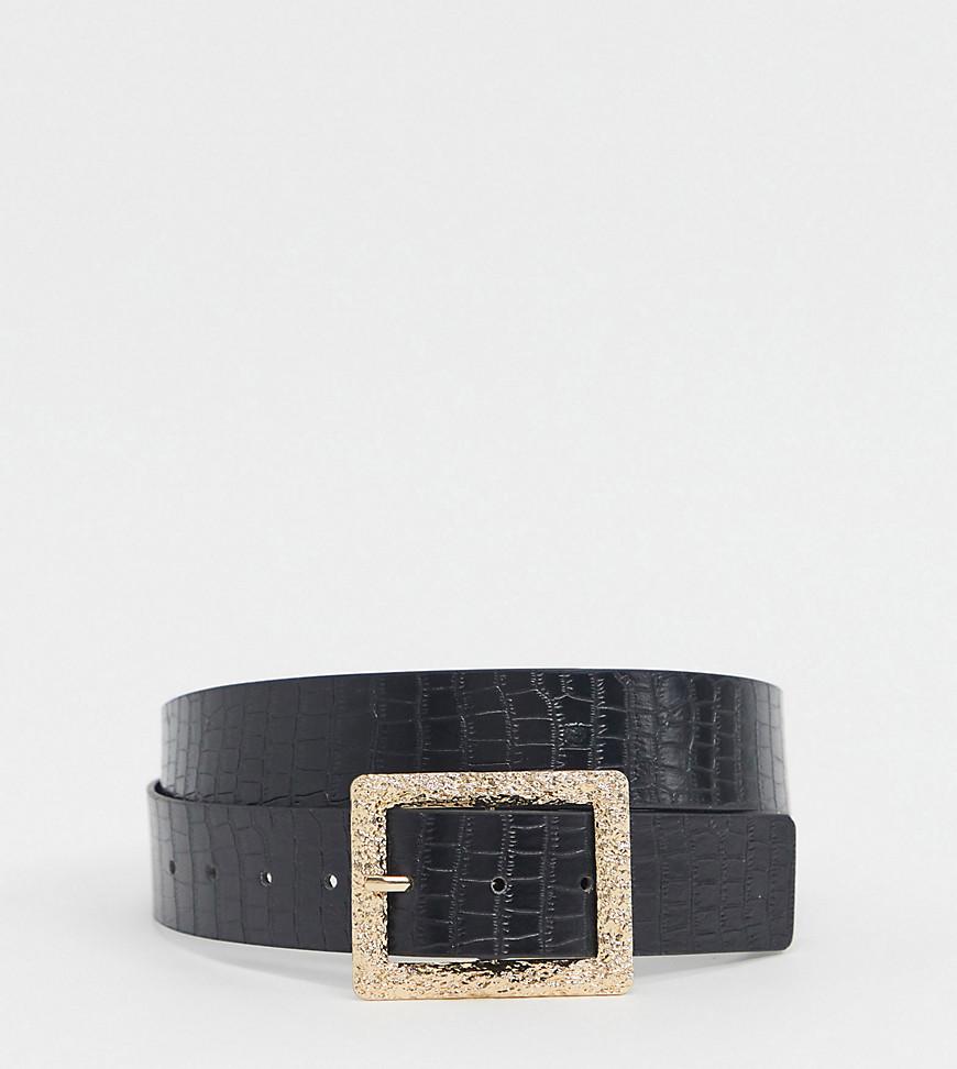 Glamorous | Эксклюзивный черный ремень для джинсов из искусственной кожи с крокодиловым узором Glamorous Curve | Clouty