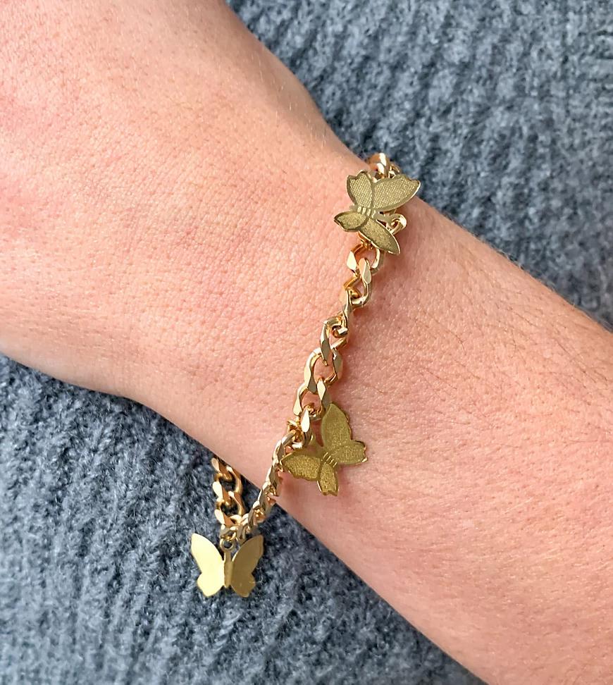 Image Gang | Эксклюзивный позолоченный браслет с подвесками в форме бабочек Image Gапg-Золотистый | Clouty