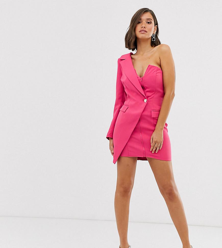 Missguided | Эксклюзивное розовое платье-блейзер на одно плечо Missguided-Poзoвый | Clouty