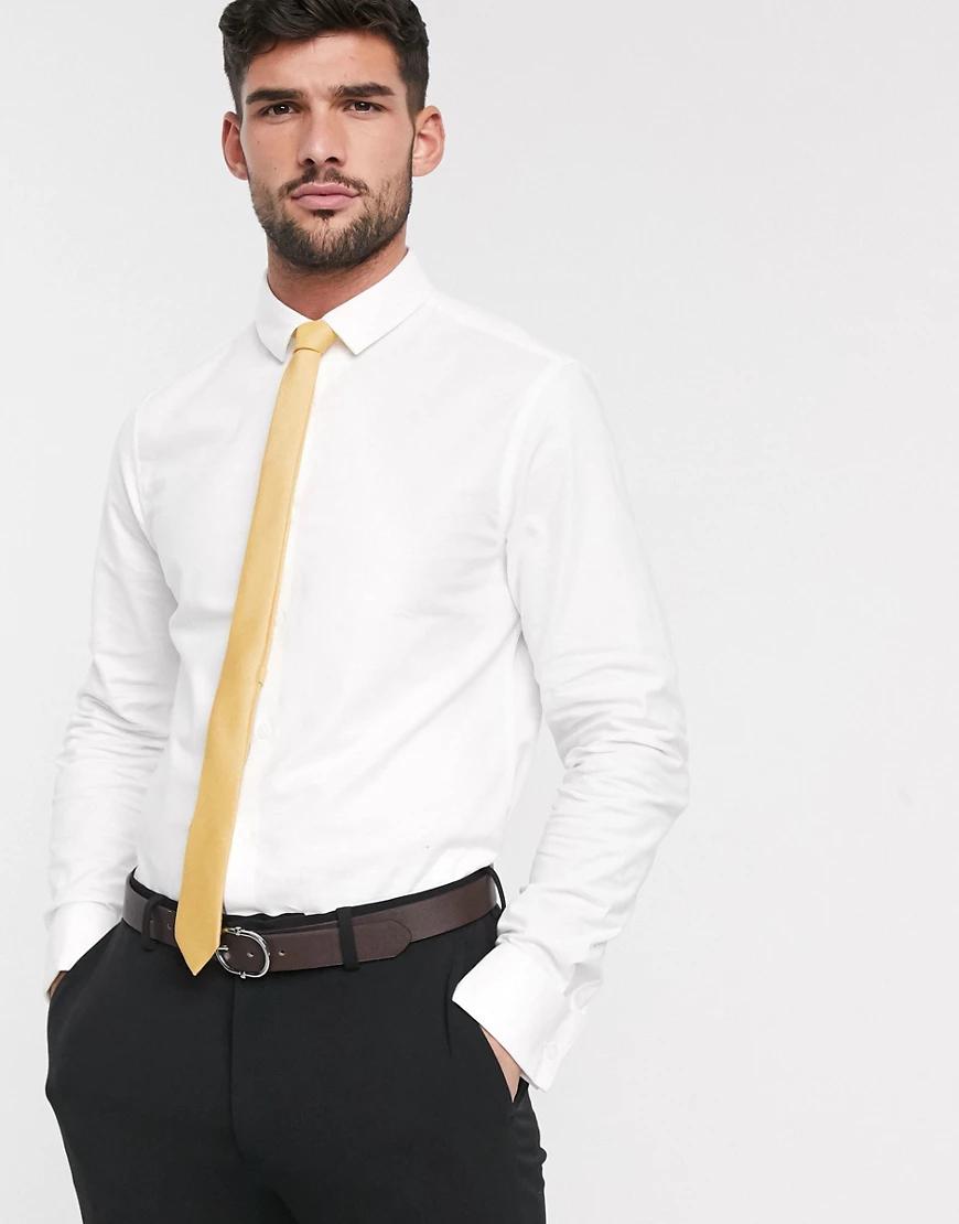 ASOS DESIGN   Эластичная оксфордская рубашка узкого кроя с двойными манжетами ASOS DESIGN-Бeлый   Clouty
