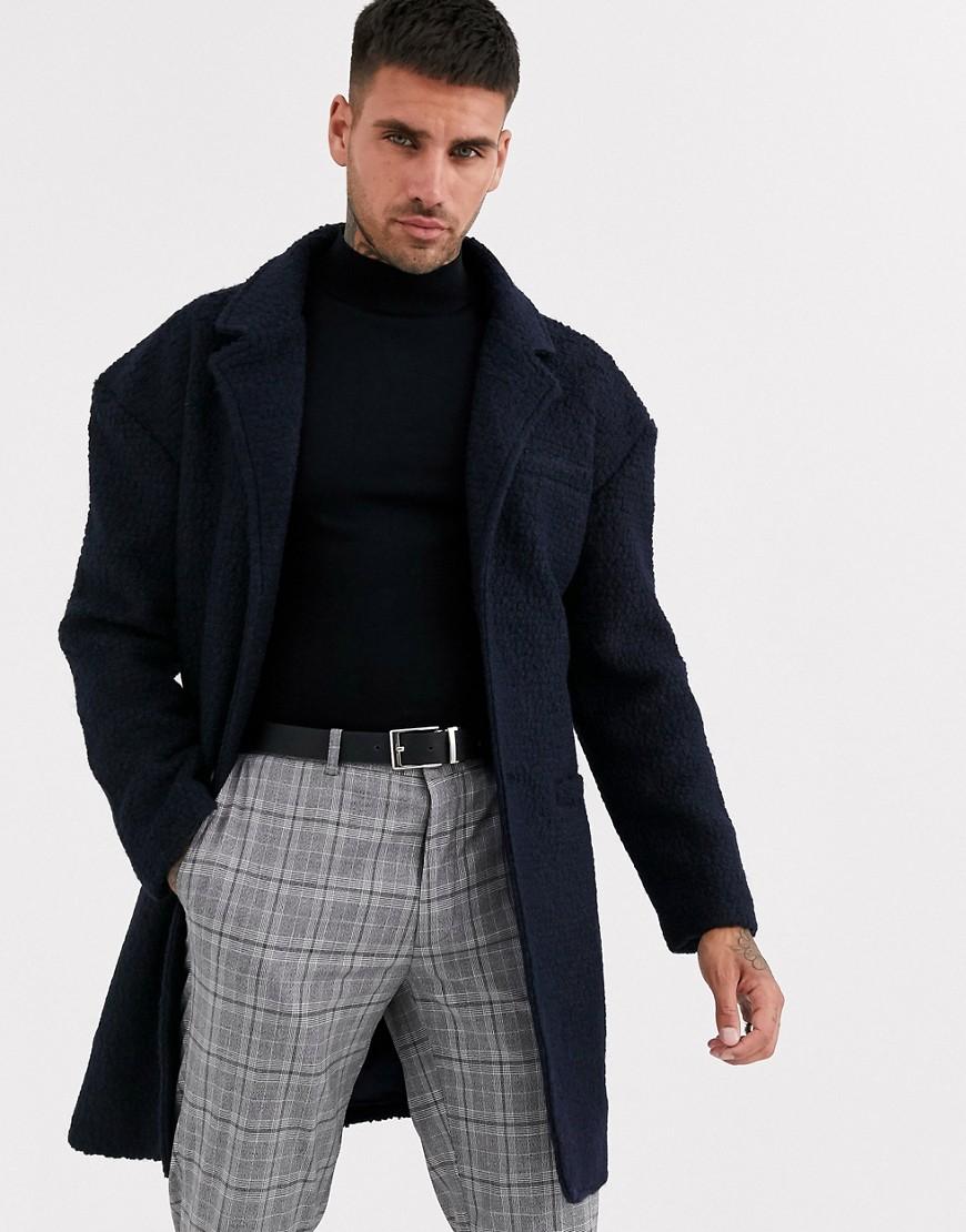 Aray   Фактурное пальто с заниженной линией плеч Аrау-Темно-синий   Clouty