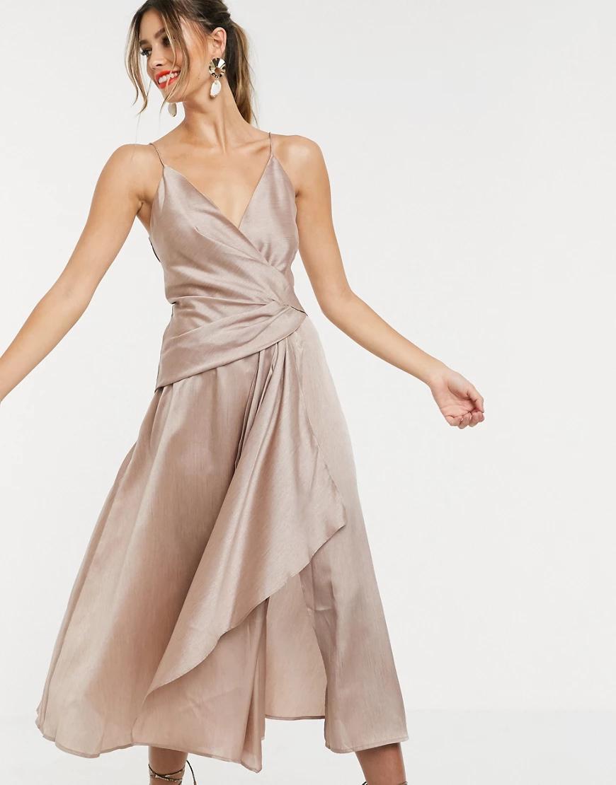 ASOS DESIGN | Фактурное платье миди на тонких бретельках с запахом и асимметричной драпировкой ASOS DЕSIGN-Бежевый | Clouty
