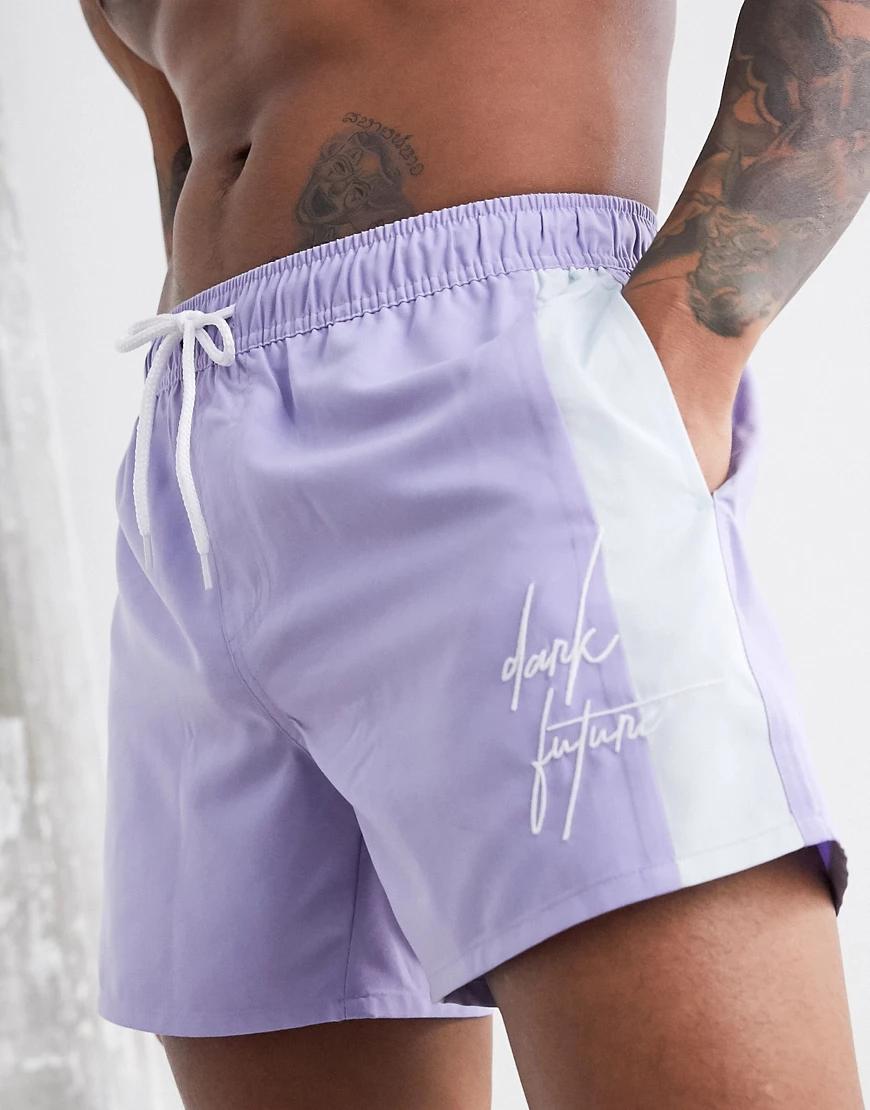 ASOS Dark Future | Фиолетовые короткие шорты для плавания со вставками по бокам ASOS Dark Fиtиrе-Фиолетовый | Clouty