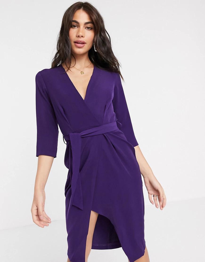 Closet London | Фиолетовое платье-футляр с рукавами 3/4 и запахом Сlоsеt-Фиолетовый | Clouty