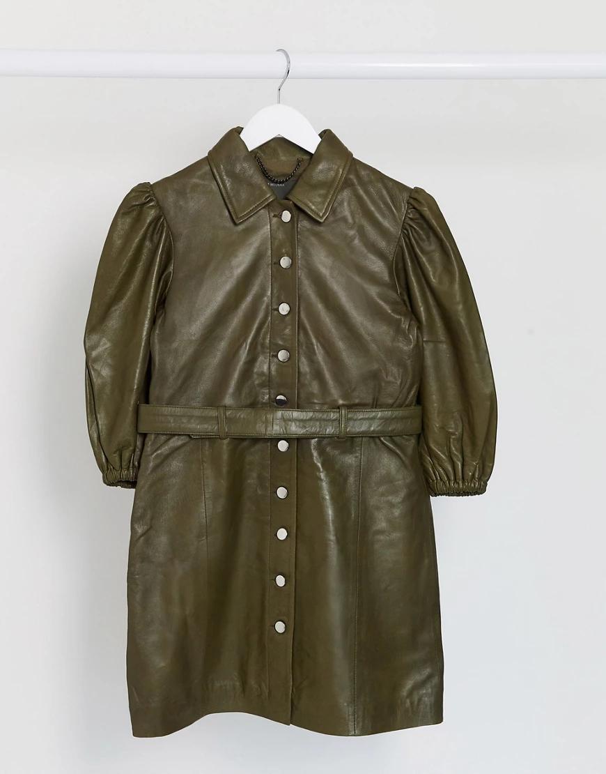 Muubaa | Кожаное платье мини шалфейно-зеленого цвета с поясом Мииbаа-Зеленый | Clouty