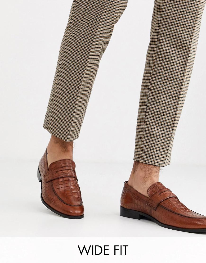 Dūnē/Minimum | Кожаные светло-коричневые лоферы с отделкой под крокодиловую кожу Dune wide fit-Светло-коричневый | Clouty