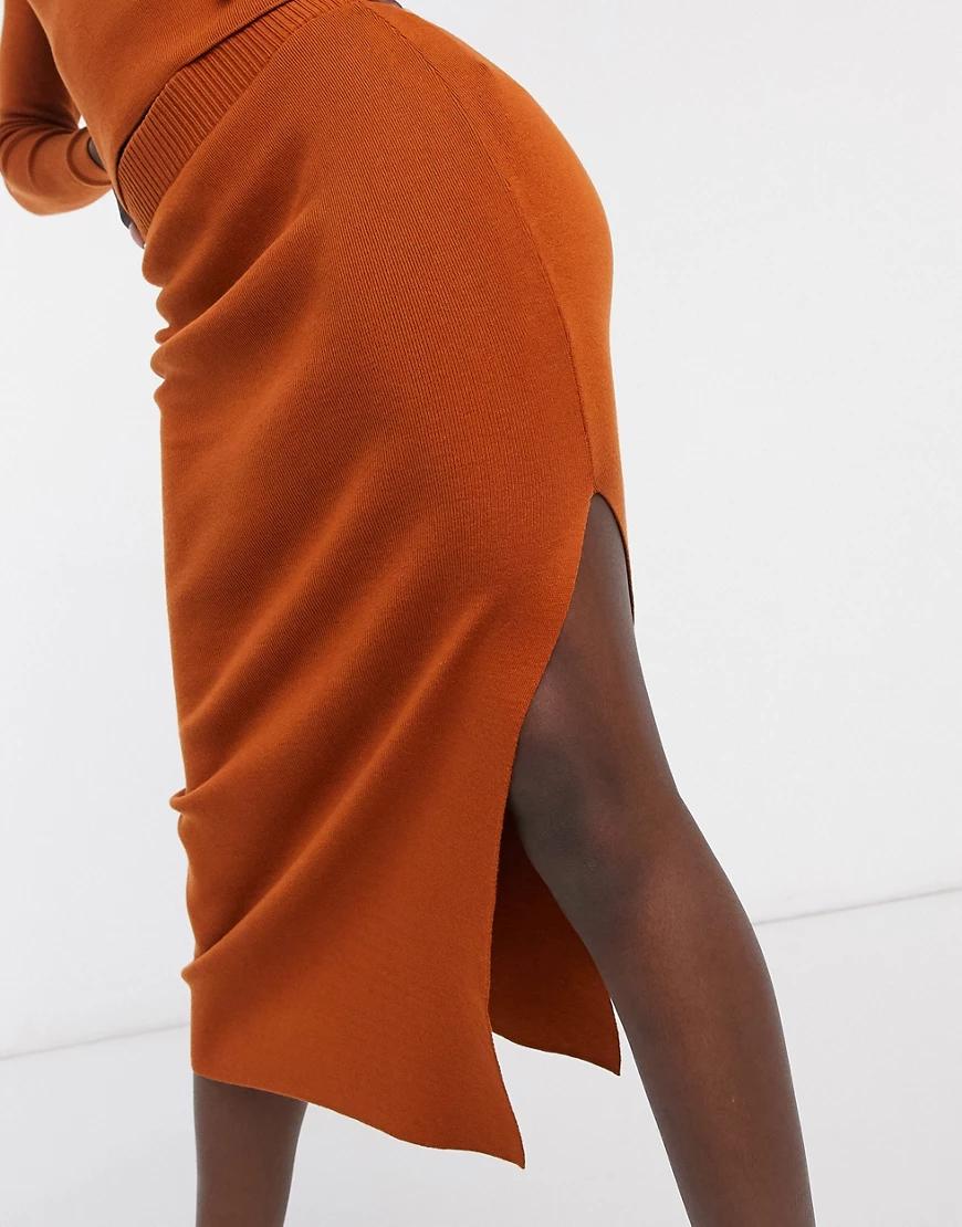 ASOS DESIGN   Коричневая трикотажная юбка с разрезом сбоку от комплекта ASOS DЕSIGN-Коричневый   Clouty