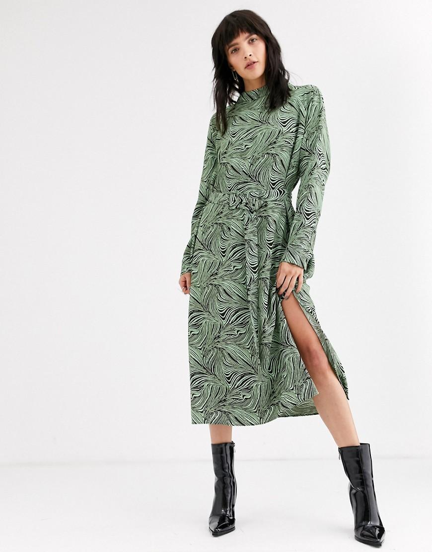 Weekday | Коричневое платье миди со светло-бирюзовым абстрактным принтом Weekday Davida-Мульти | Clouty