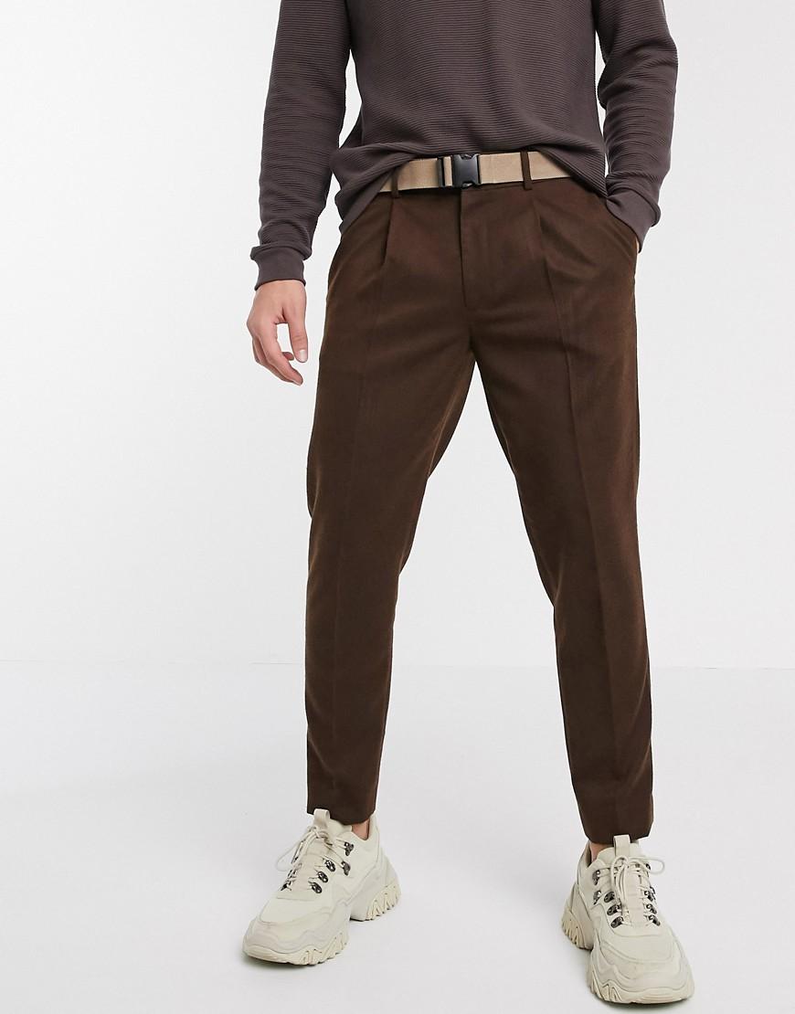 ASOS | Коричневые строгие узкие брюки с контрастным поясом ASOS DESIGN-Cepый | Clouty