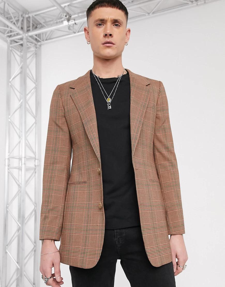 ASOS DESIGN | Коричневый длинный приталенный пиджак в клетку ASOS DESIGN-Cepый | Clouty