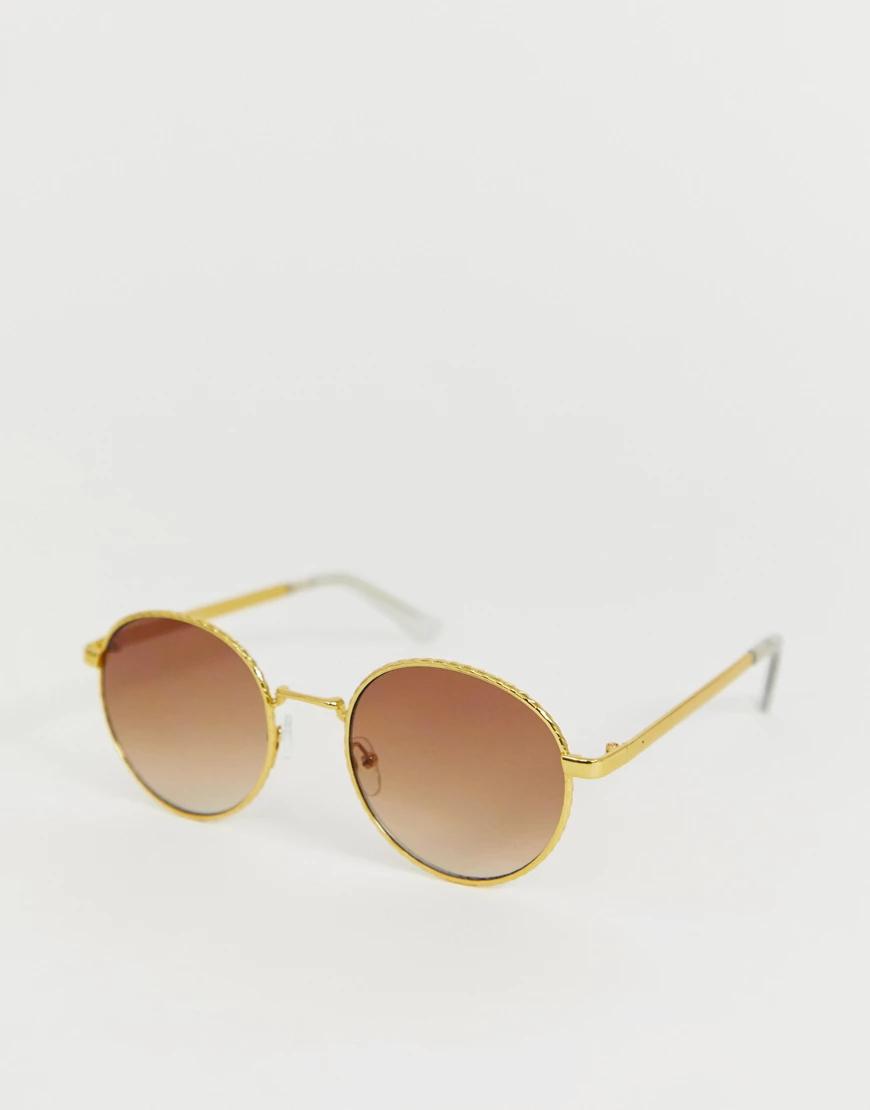 ASOS   Круглые солнцезащитные очки в металлической оправе ASOS DЕSIGN-Золотой   Clouty