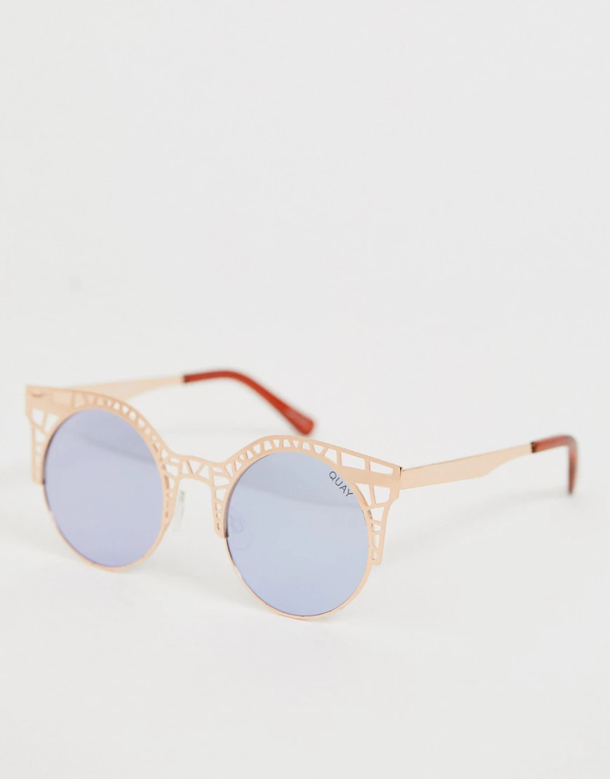 Quay Australia | Круглые солнцезащитные очки Quay Flеиr-Золотой | Clouty
