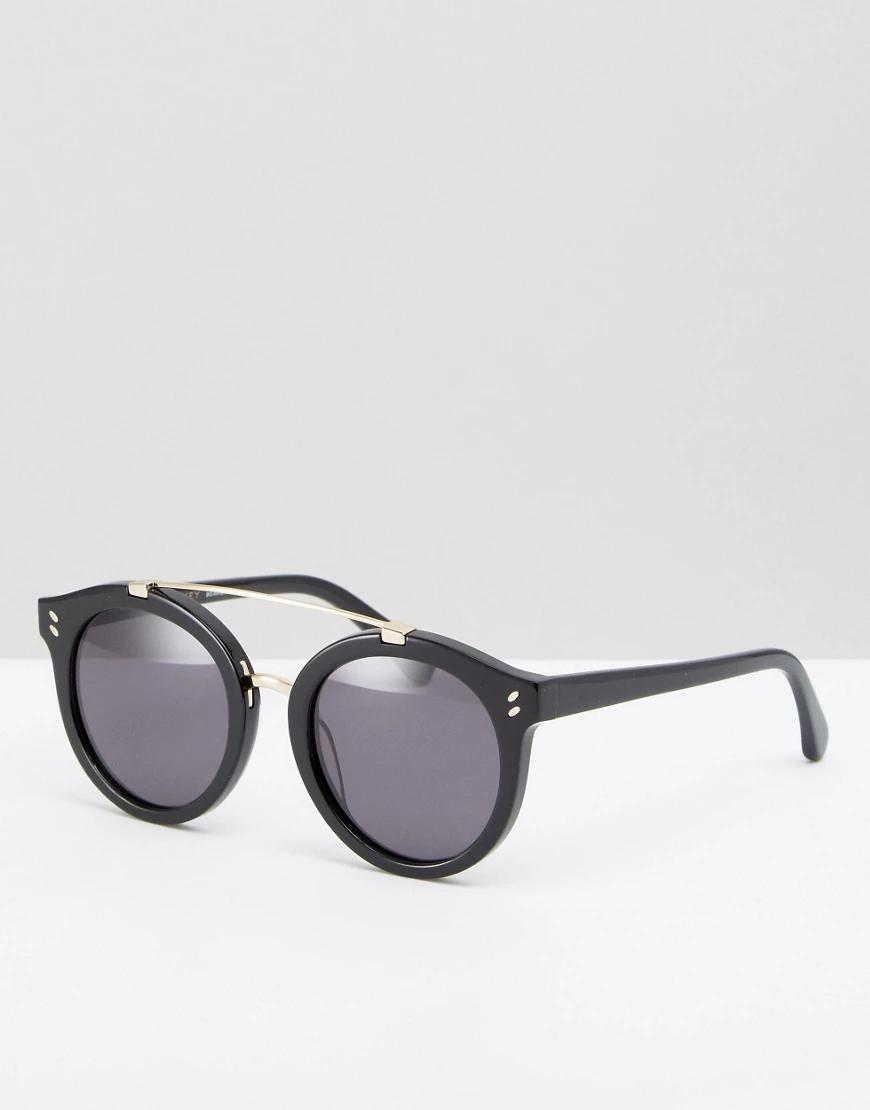 Stella McCartney | Круглые солнцезащитные очки с металлической планкой Stella McCartney-Чepный | Clouty