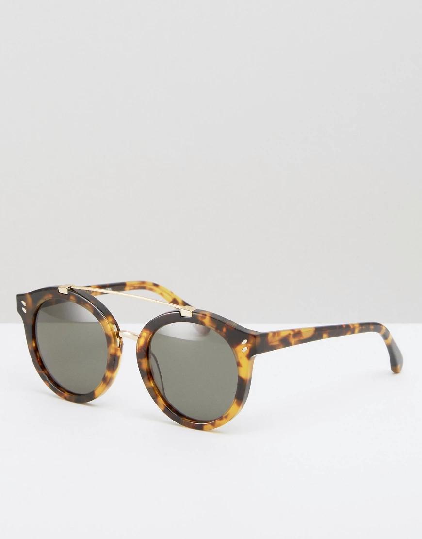 Stella McCartney | Круглые солнцезащитные очки с металлической планкой Stella МсСаrtпеу-Коричневый | Clouty