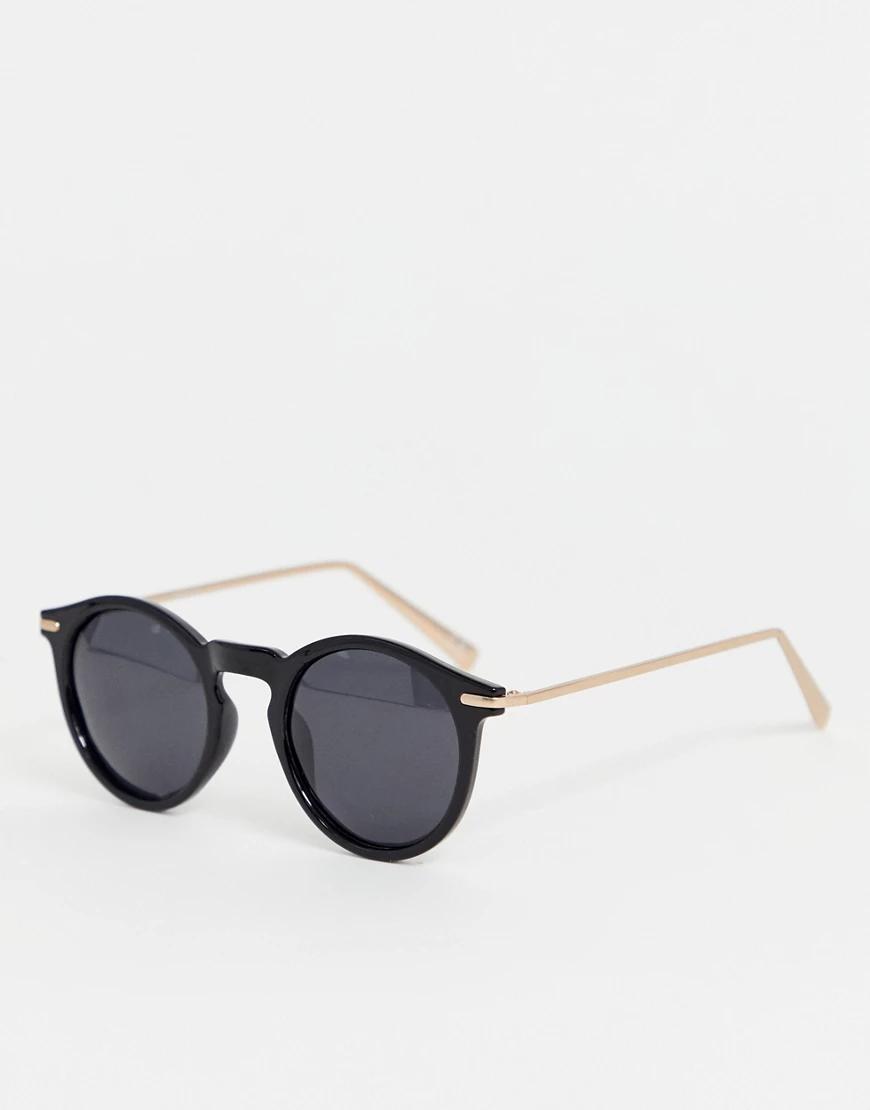 ASOS | Круглые солнцезащитные очки с поляризованными стеклами и металлическими дужками ASOS DESIGN-Черный | Clouty