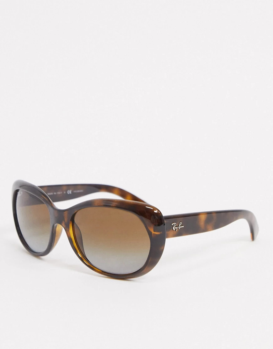 Ray Ban | Крупные солнцезащитные очки в круглой оправе коричневого черепахового цвета Rау-Ваn-Коричневый | Clouty