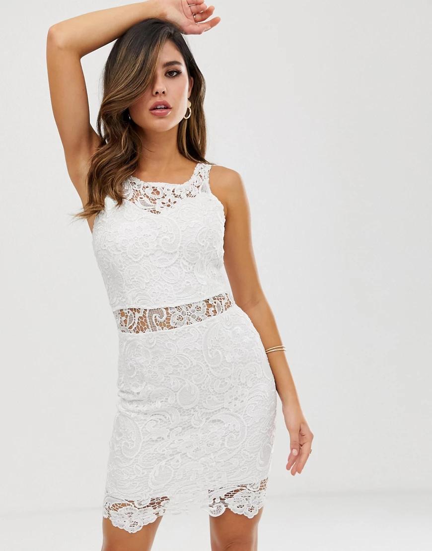 Ax Paris   Кружевное облегающее платье AX Раris-Кремовый   Clouty