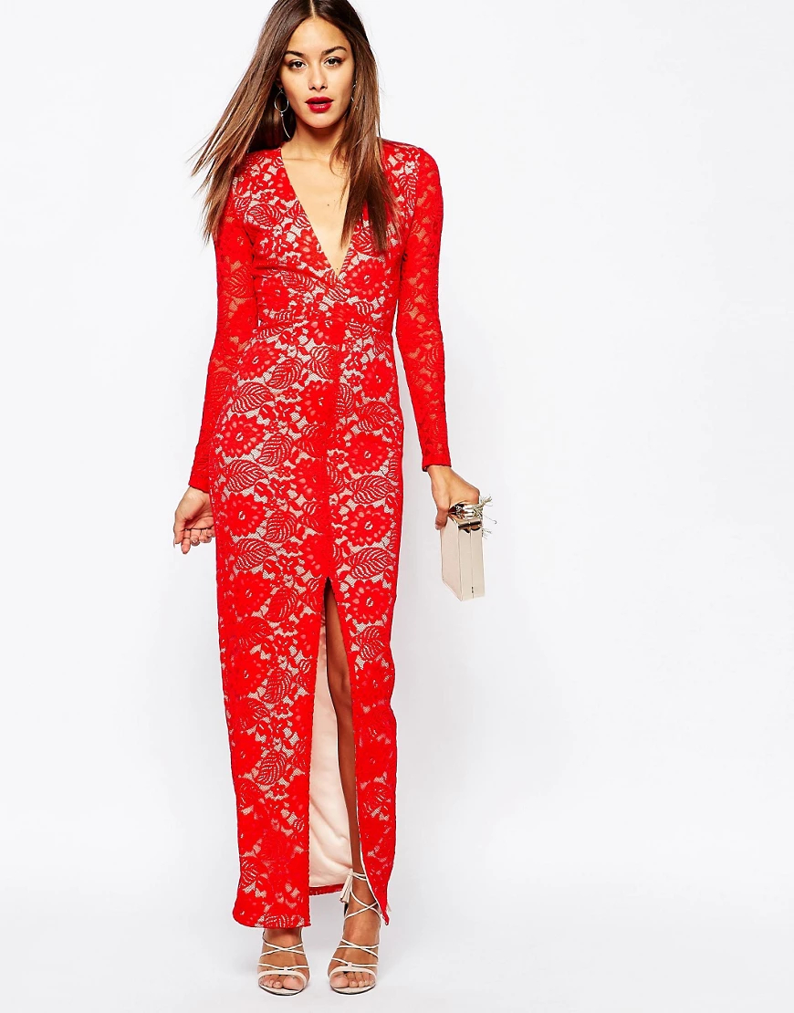 Missguided | Кружевное платье макси Missguided-Kpacный | Clouty