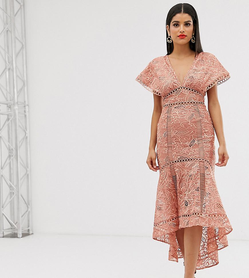 ASOS DESIGN   Кружевное платье миди ASOS DESIGN Таll-Розовый   Clouty