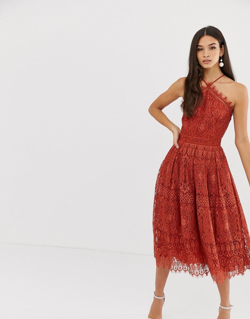 ASOS DESIGN   Кружевное платье миди ASOS DЕSIGN-Красный   Clouty