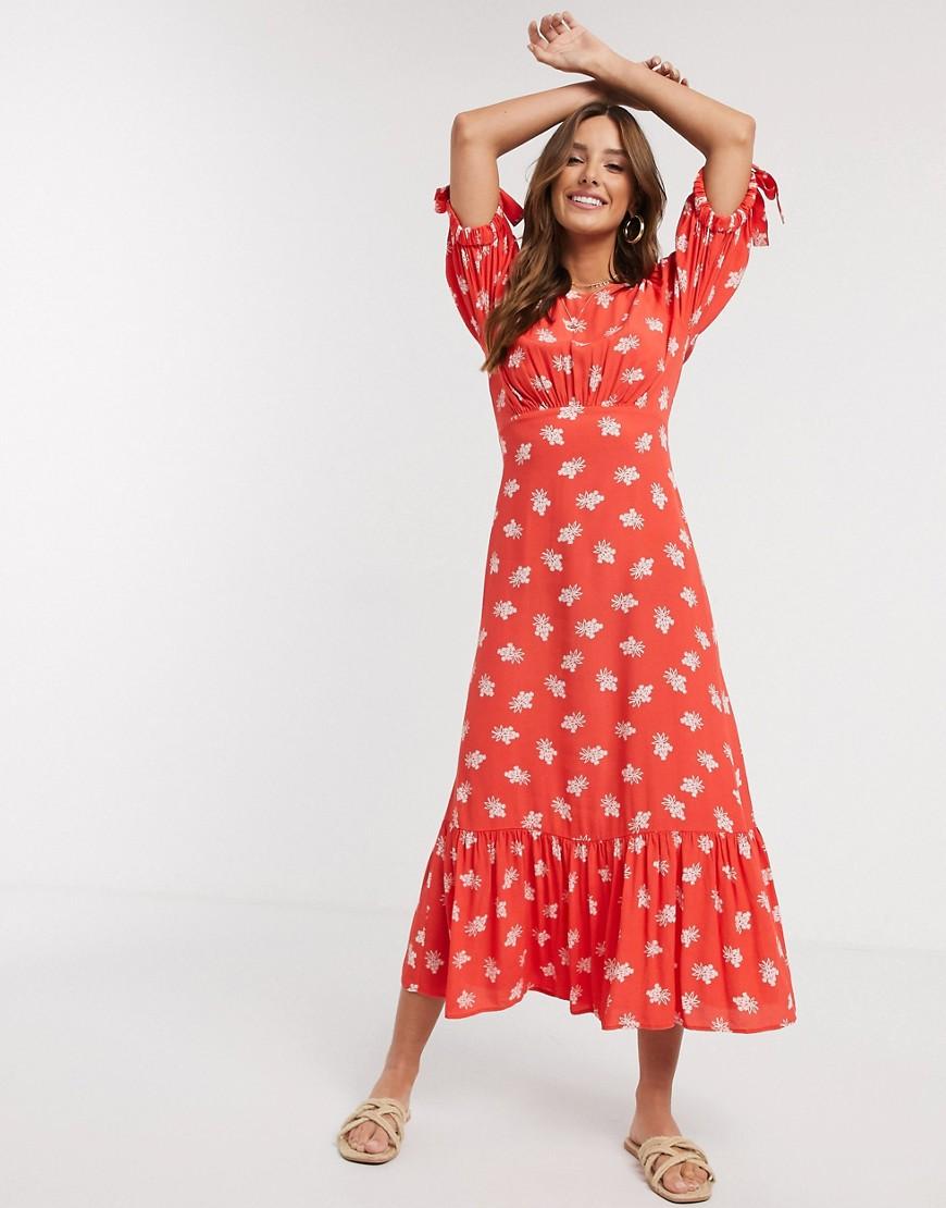 Ghost | Красное креповое платье миди с цветочным принтом Ghоst-Красный | Clouty