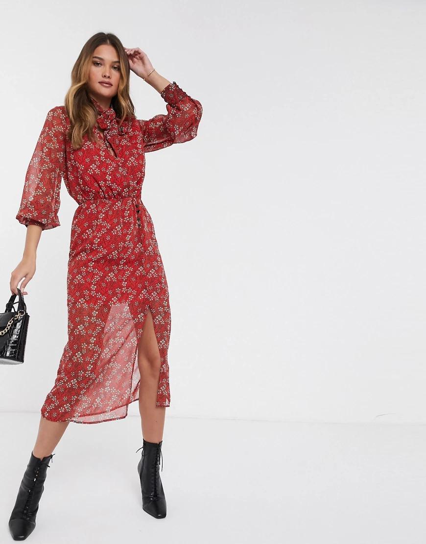 River Island | Красное платье миди с цветочным принтом и бантом River Islапd-Красный | Clouty