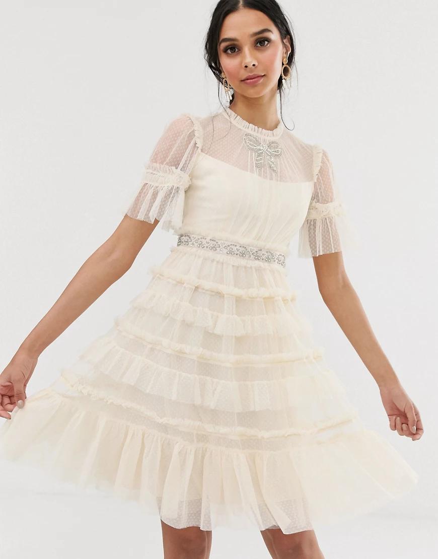 Needle & Thread   Кремовое декорированное платье миди с бантиком Needle & Thread bridаl-Кремовый   Clouty