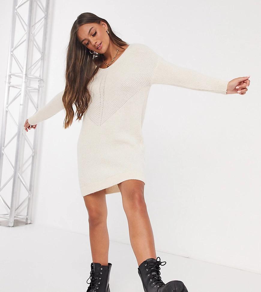 Only Petite   Кремовое платье-джемпер с V-образным вырезом Опlу-Бежевый   Clouty