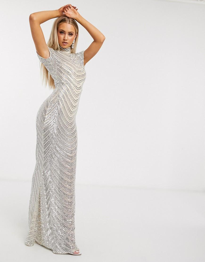 Club L London | Кремовое платье макси с воротником-стойкой и геометрическим рисунком из пайеток Club L London-Бeлый | Clouty