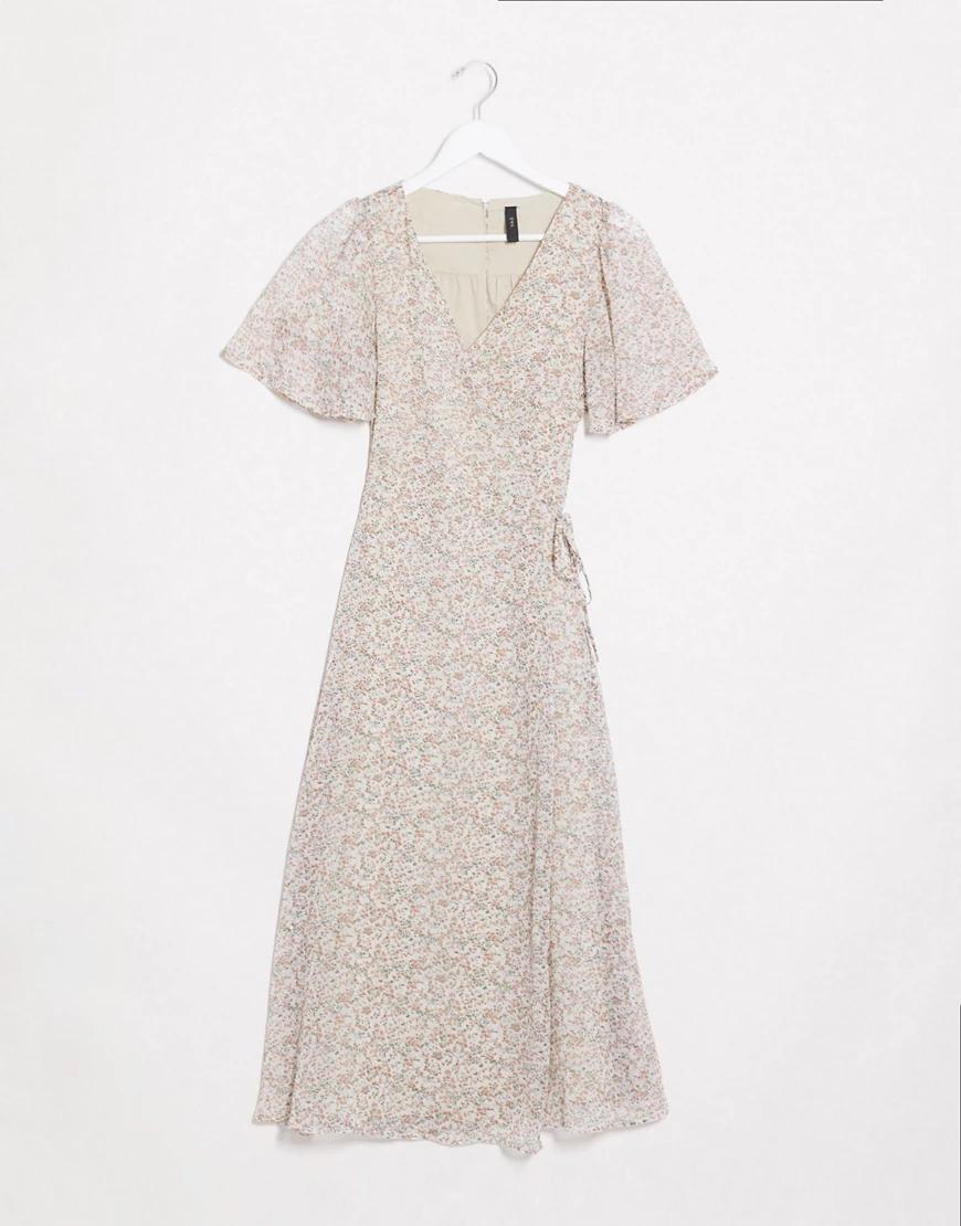 Y.A.S. | Кремовое платье миди с запахом в цветочекY.А.S-Мульти | Clouty