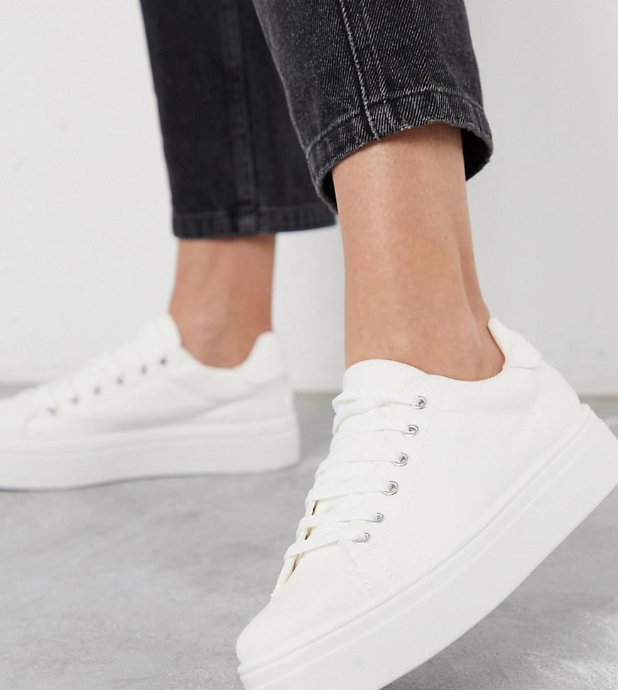 ASOS DESIGN | Кроссовки для широкой стопы на толстой подошве и шнуровке ASOS DESIGN - Day Light-Белый | Clouty