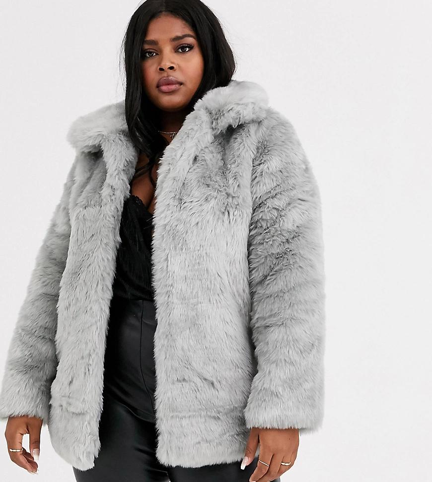 Glamorous | Куртка из искусственного меха Glamorous Curve-Серый | Clouty