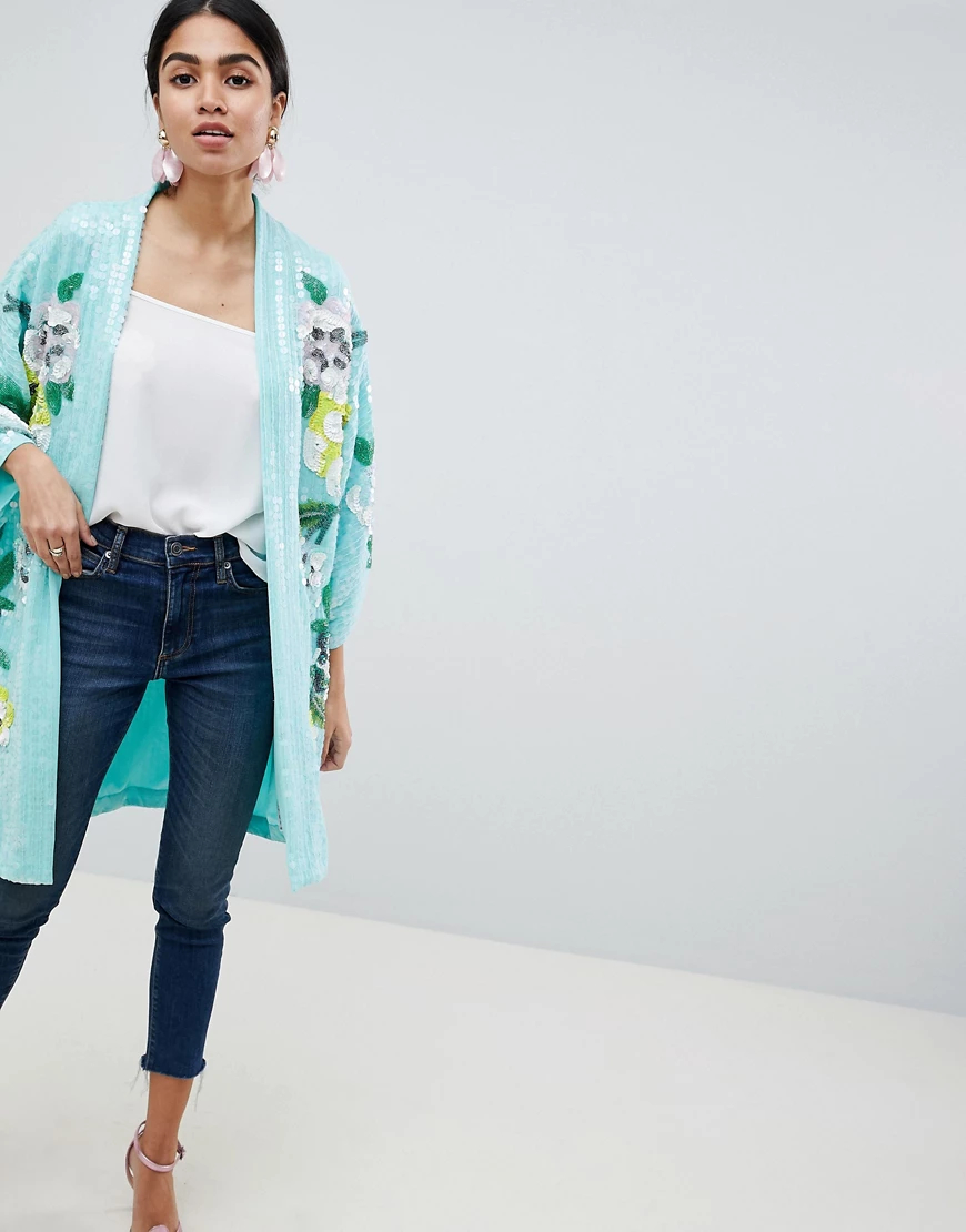 ASOS DESIGN | Куртка-кимоно с цветочной отделкой ASOS DESIGN-Мульти | Clouty