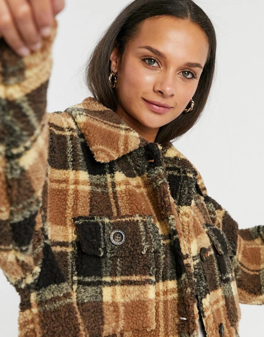 Only | Куртка-рубашка в стиле oversized из плюша в клетку Опlу-Мульти | Clouty