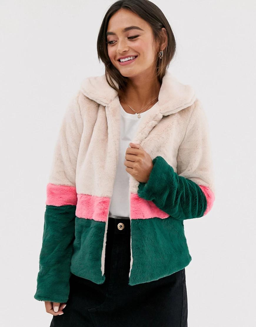 Glamorous | Куртка с отделкой из искусственного меха и контрастными полосами Glamorous-Myльтu | Clouty