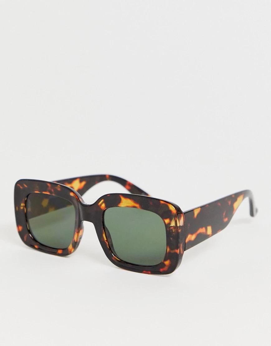 ASOS | Квадратные солнцезащитные очки в черепаховой оправе ASOS DЕSIGN-Коричневый | Clouty
