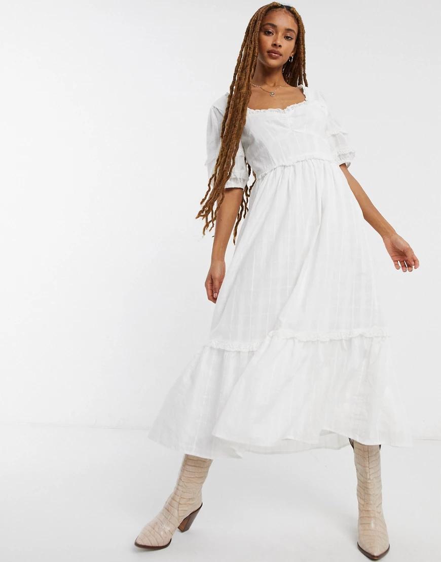 Emory Park | Хлопковое чайное платье макси Emory Раrк-Белый | Clouty