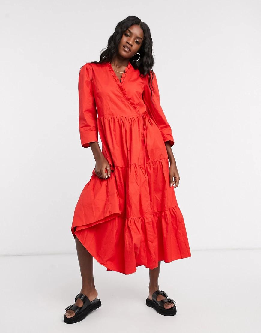 Glamorous | Хлопковое платье миди с запахом и ярусной юбкой Glamorous-Kpacный | Clouty