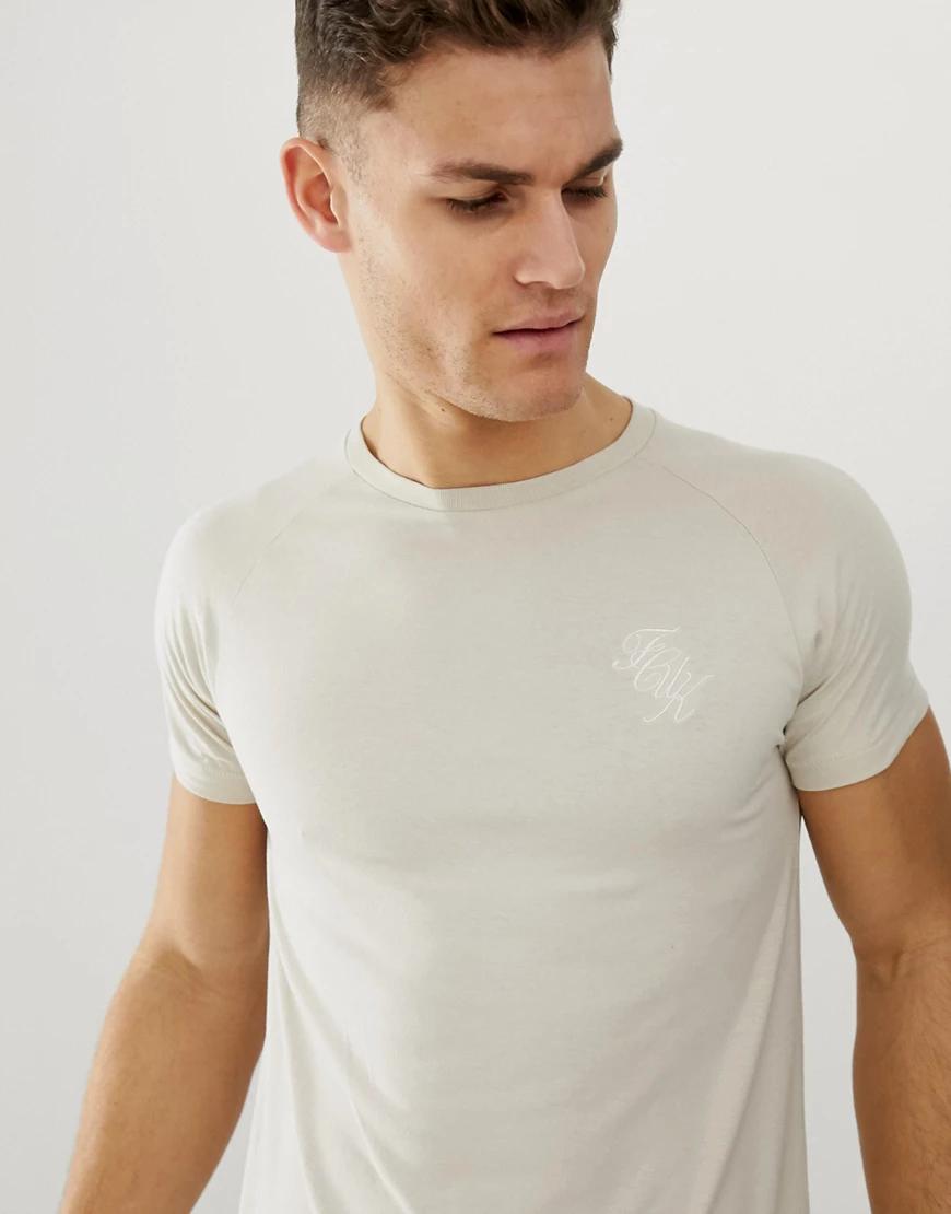 French Connection | Обтягивающая футболка с логотипом и асимметричным подолом French Connection-Neutral | Clouty