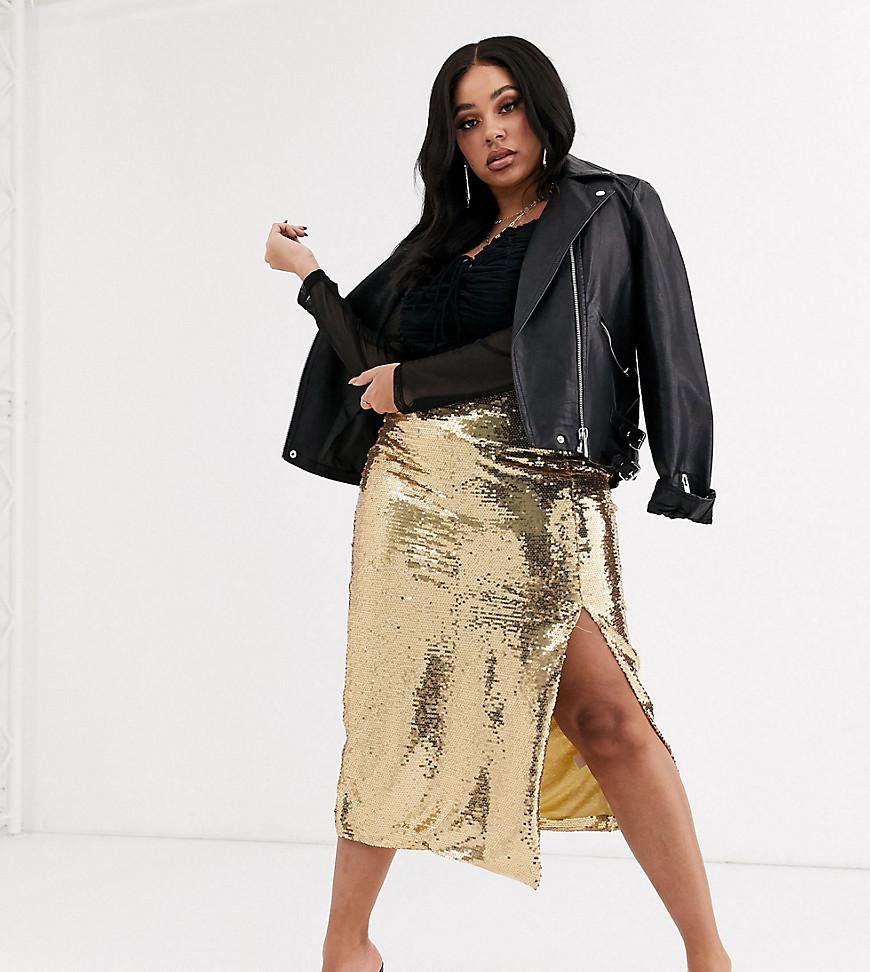 Unique 21 | Облегающая юбка-карандаш с золотистыми пайетками Unique 21-Золотой | Clouty