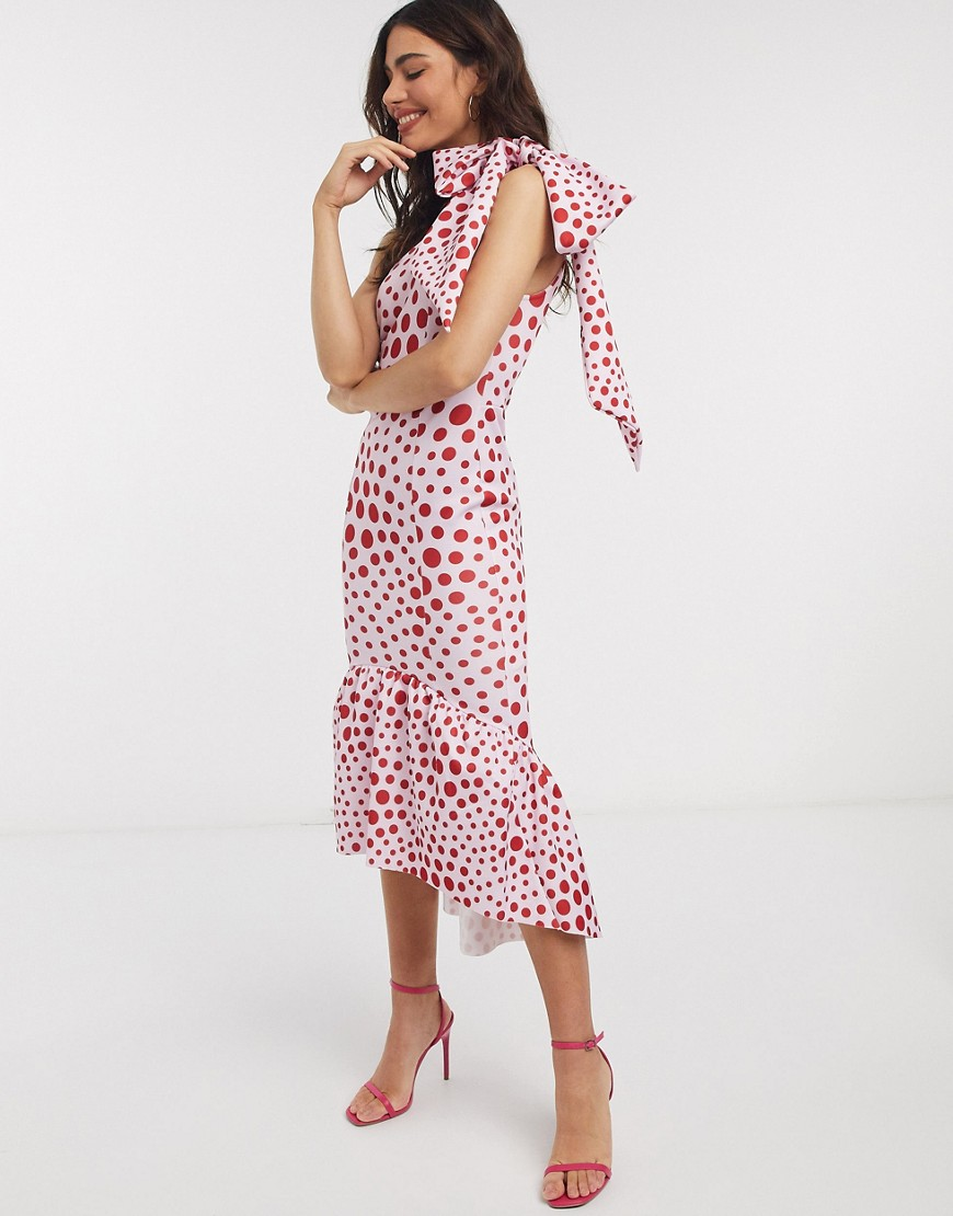 ASOS DESIGN   Облегающее платье миди в горошек на одно плечо с бантом ASOS DESIGN-Мульти   Clouty