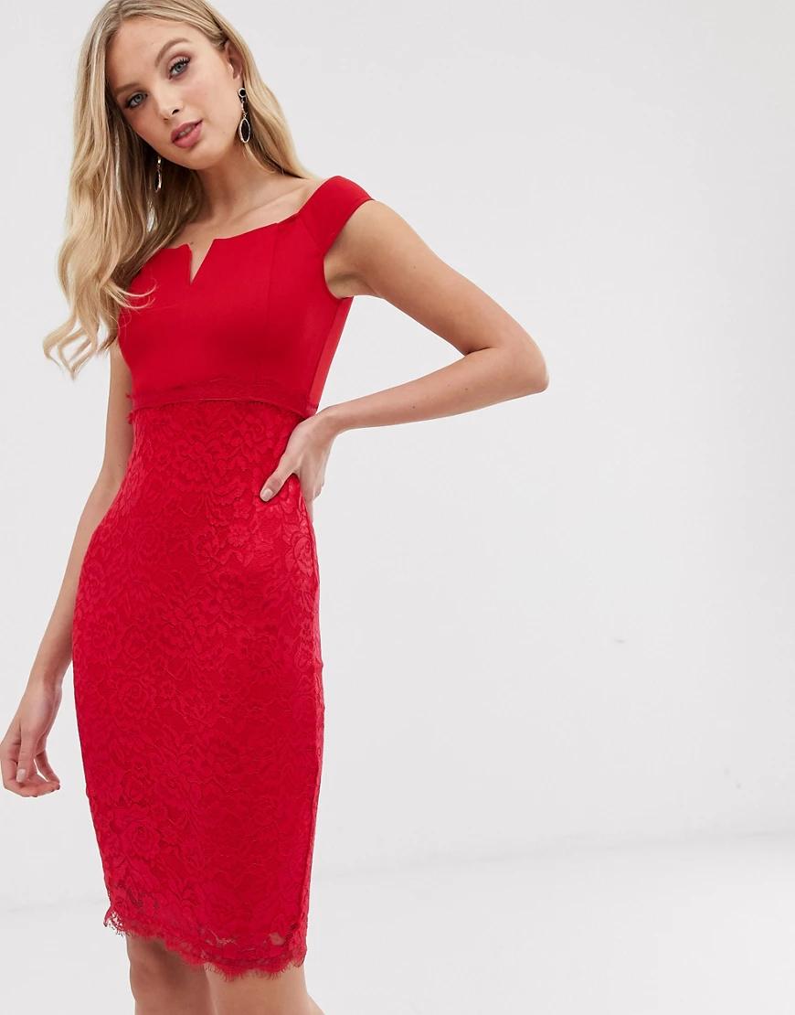 Ax Paris | Облегающее платье с широким вырезом и кружевной отделкой AX Раris-Красный | Clouty
