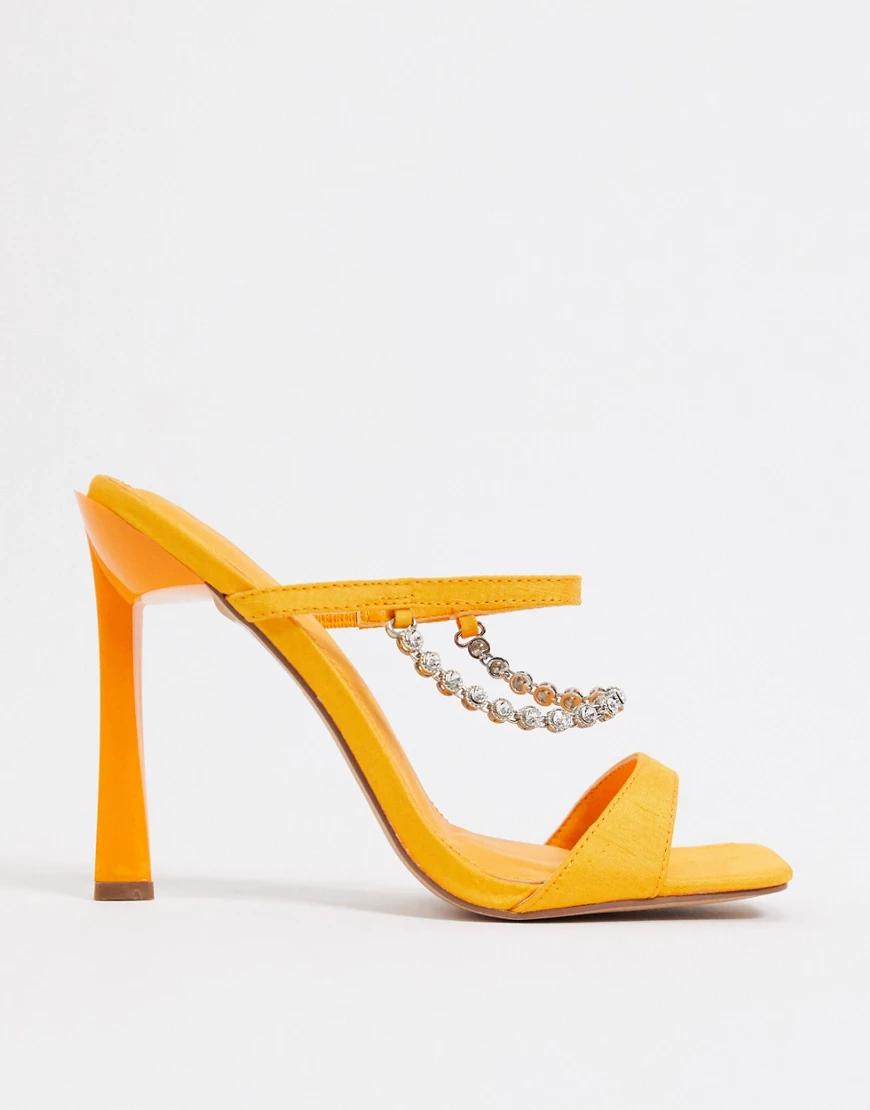 ASOS DESIGN | Оранжевые мюли на каблуке с отделкой ASOS DЕSIGN-Оранжевый | Clouty