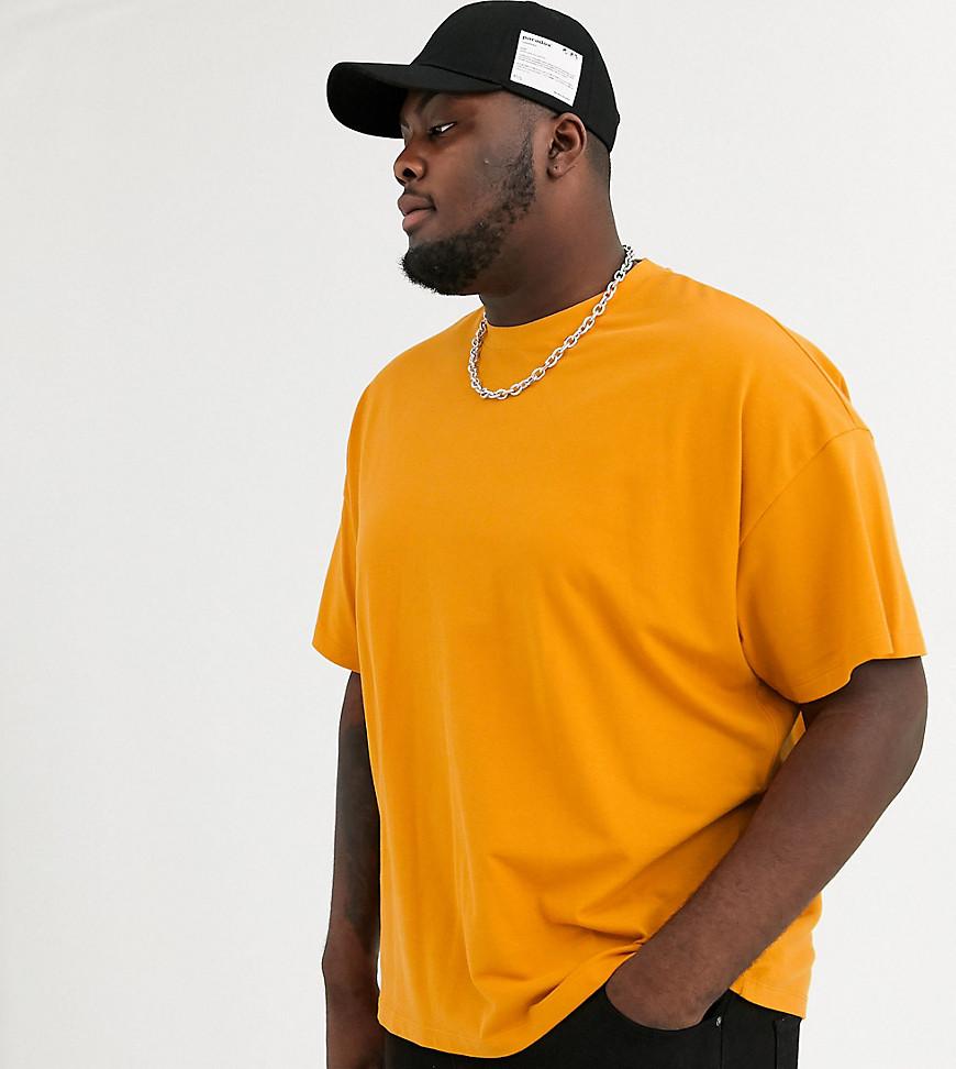 ASOS DESIGN | Оранжевая oversize-футболка из ткани пике из органического хлопка с круглым вырезом ASOS DESIGN Рlиs-Коричневый | Clouty