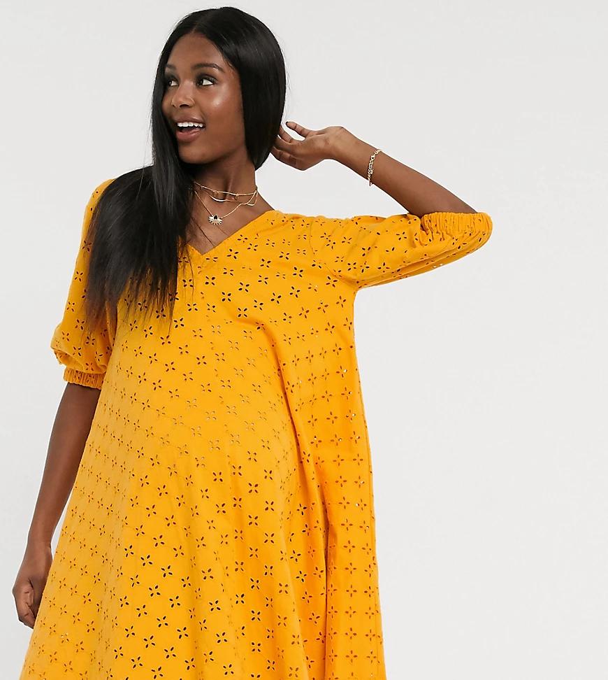 ASOS DESIGN | Оранжевое свободное платье мини с V-образным вырезом ASOS DESIGN Maternity-Оранжевый | Clouty