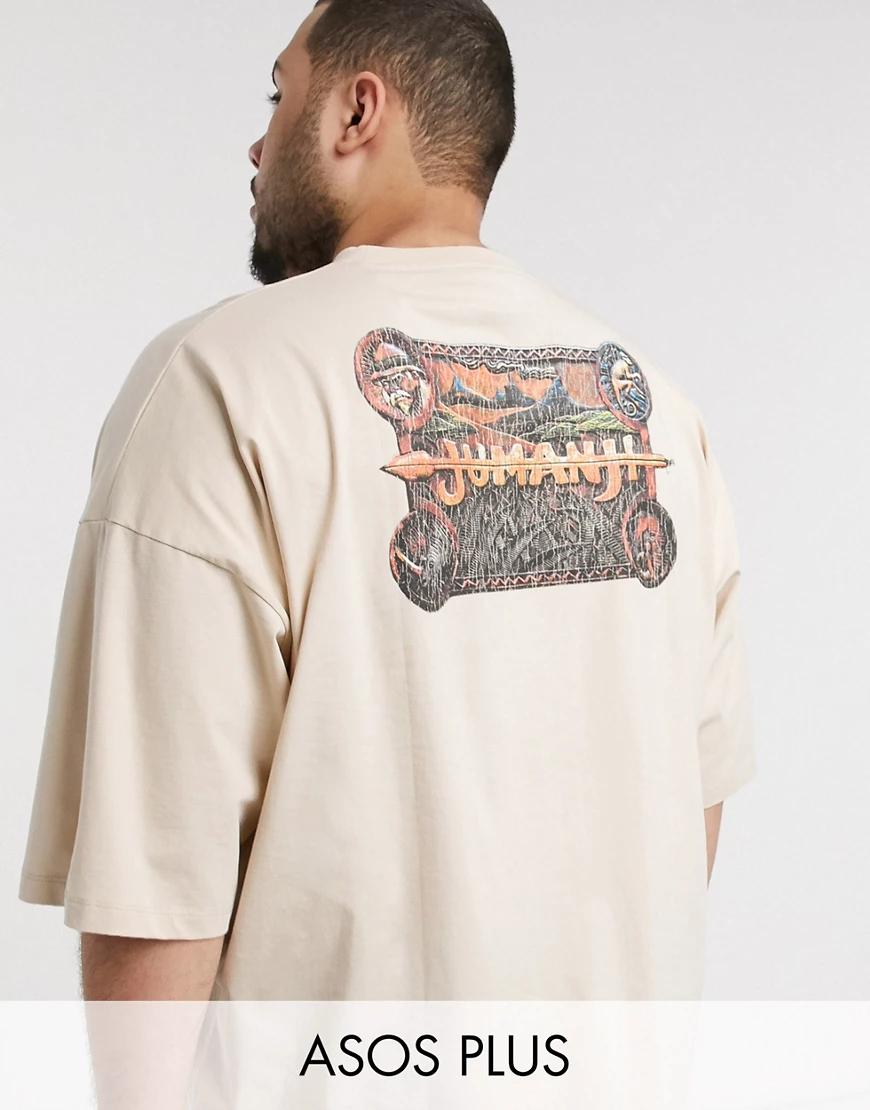 ASOS DESIGN | Oversize-футболка с асимметричными краями ASOS DESIGN Рlиs-Бежевый | Clouty