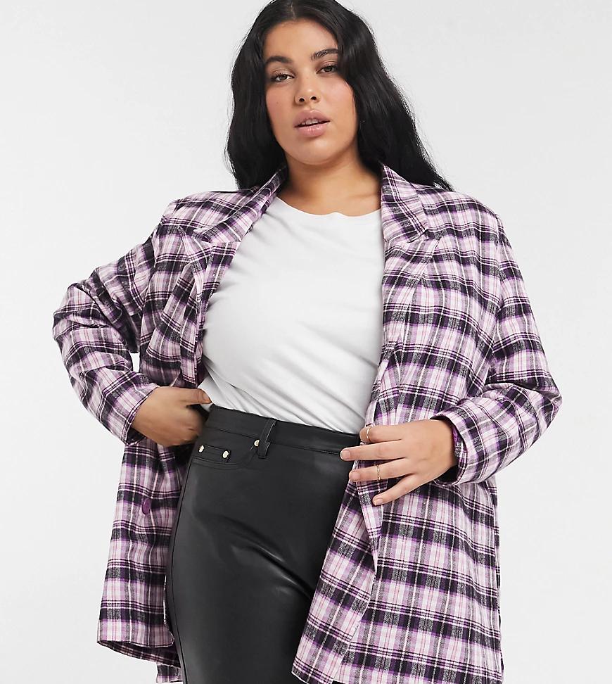 Heartbreak Plus | Oversized-nuджak в розовую и черную клетку в винтажном стиле Heartbreak Рlиs-Розовый | Clouty